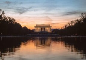 Sunset over the Lincoln Memorial